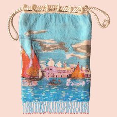 Antique Beaded Venetian Scenic Purse