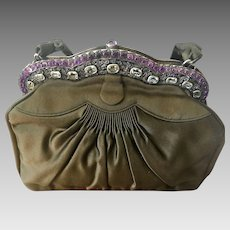 Vintage Genuine Gemstone Purse Handbag Near Mint