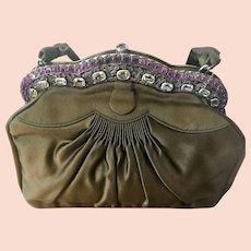 Vintage Genuine Gemstone Purse Handbag Near Mint