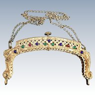 Vintage Jeweled Goldtone Purse Frame