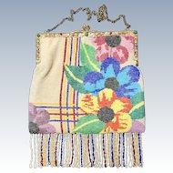 Art Deco Stylized Floral Jeweled Snake Frame Purse
