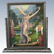 REDUCED!  Vintage Original 1920's Silver Tone Tillt Swing Frame Lady Nude Picture