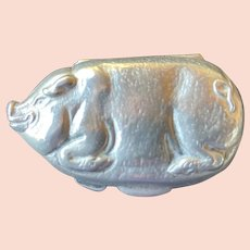 Adorable Little Pig Silver Metal Coin Purse Vintage