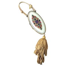 Rare Austrian Mega Jeweled Enamel Compact Purse Vanity Bag