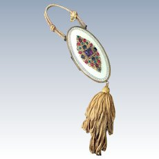 SUMMER SALE! Rare Austrian Mega Jeweled Enamel Compact Purse Vanity Bag