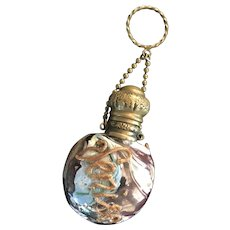 Antique 19th Century Venetian Aventurine Souvenir Scent Bottle Chatelaine