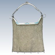 SALE! Antique French Enamel Mesh Purse Unusual Clasp