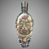 Antique Victorian Teardrop Scent Bottle Peacock
