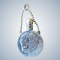 Antique Big Cat Silver Metal Chatelaine Scent Bottle