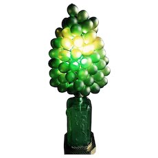 Vintage Czech Glass Nudes Cherubs Green Grapes Table Lamp Art Deco