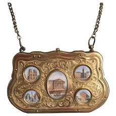 Antique French Grand Tour Souvenir Eglomise Architectural Images Purse