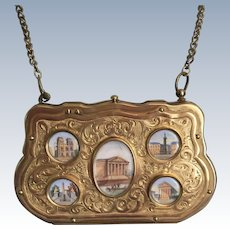 Antique French Grand Tour Souvenir Eglomise Architectural Images Purse