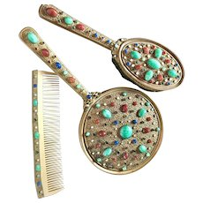 Austrian Jeweled Three Piece Vanity Set Brush Mirror Comb