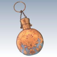 Antique 19th Century Blue Opaline Gilt Scent Perfume Bottle