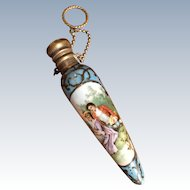 LAST CHANCE! 19th Century Enamel Chatelaine Perfume Scent Bottle