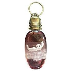 Antique Venice Souvenir Scent Bottle Gondola Chatelaine Finger Ring