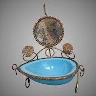 Antique 19th Century French Opaline Brass Watch Holder