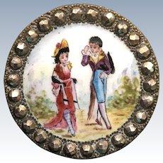 LAST CHANCE! Antique French Enamel Figural Pictorial Button