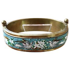 LAST CHANCE! Antique Micromosaic Cuff Bracelet Doves and Flowers