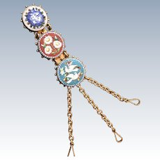 LAST CHANCE! Antique Late 19th Century Italian Micromosaic Chatelaine for Coin Purse and Accessories
