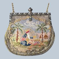REDUCED!  Vintage Exotic Silk Stitch Metallic Needlework Two Sided Figural Purse