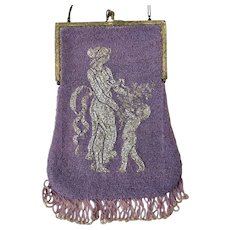 LAST CHANCE! Antique Figural Beaded Purse Two Pattern Sterling Silver Frame