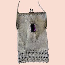 Rare Whiting and Davis Silver Mesh Two Large Amethyst Glass Jewels