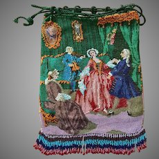 Rare Multi Figural Antique Beaded Purse Parlor Scene Original