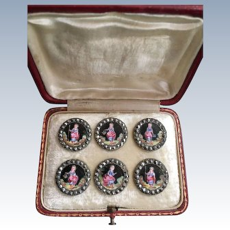 LAST CHANCE! Antique Set of Six  Enamelled French Buttons in Original Box