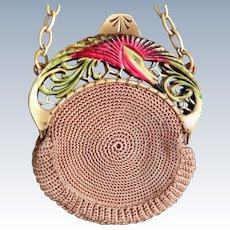 Vintage French Celluloid Bird Crochet Purse