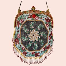 Antique Beaded Piecrust Purse Jeweled Enamel Frame