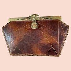 Art Deco Meeker Leather Purse Enamel Frame