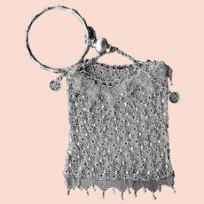 Antique Chinese Silver Florette Mesh Export Purse Bracelet Handle