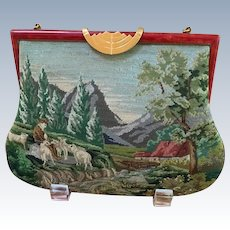 REDUCED!  Vintage Pastoral Micro Petit Point Purse Great Frame Different Seasons