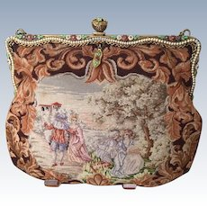 REDUCED! Vintage Micro Petit Point Figural Scenic Purse Enamel Jeweled Frame
