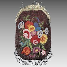 Antique Micro Beaded Floral Purse Genuine Gemstone Frame
