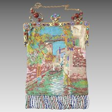 Antique Jeweled Enamel Venetian Scenic Beaded Purse Venice Scene Handbag