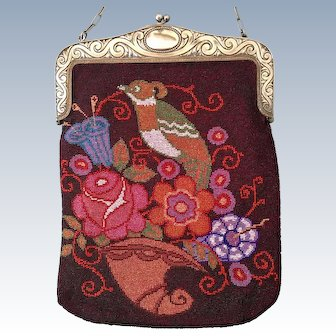 Fantastic Colorful Stylized Quail Bird Beaded Purse