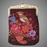 REDUCED LAST CHANCE! Fantastic Colorful Stylized Quail Bird Beaded Purse