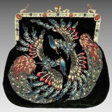 Rare Sugar Beaded Mythological Phoenix Purse Jeweled Enamel Frame