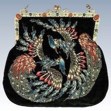 Rare Sugar Beaded Mythological Phoenix Purse Jeweled Enamel Frame