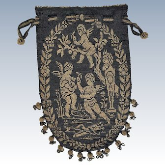 Rare Antique French Figural Beaded Purse Adam and Eve