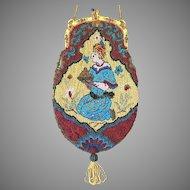 LAST CHANCE REDUCED! Vintage Beaded Figural Purse Jeweled Enamel Frame