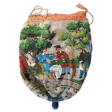 Antique 19th Century Beaded Multi-Figural Purse Smoking and Drinking Men