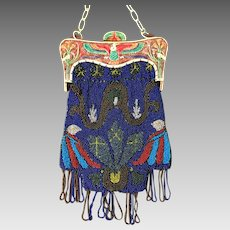 Beaded Celluloid Egyptian Revival Winged Bird Phoenix Lotus Flower Purse