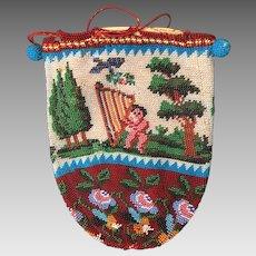 Antique 19th Century Beaded Drawstring Reticule Bag Purse Harp Playing Cherub