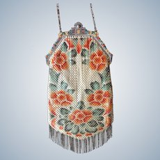 Stunning Mandalian Enamel Mesh Purse with Double Sided Stained Glass Frame