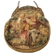 LAST CHANCE TO BE REMOVED 8-31! Stunning Double Sided Jeweled Frame Figural Scenic Aubusson Tapestry Purse