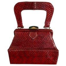 Vintage Deitsch Burgundy Snakeskin C. 1940's Handbag Purse