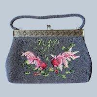Vintage Beaded Needlework Purse Chinese Bubble Eye Goldfish Clutch Bag